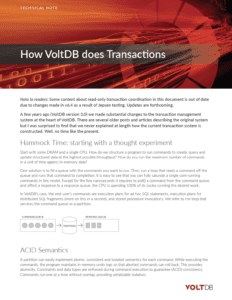 Technical Note: How VoltDB Does Transactions