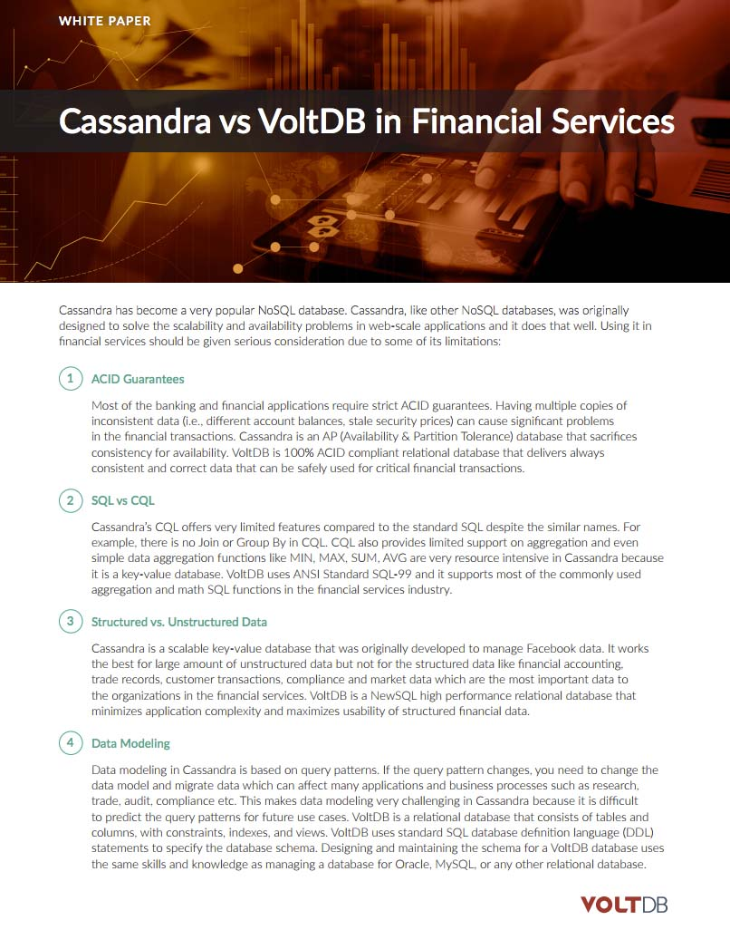 Cassandra vs VoltDB in Financial Services whitepaper