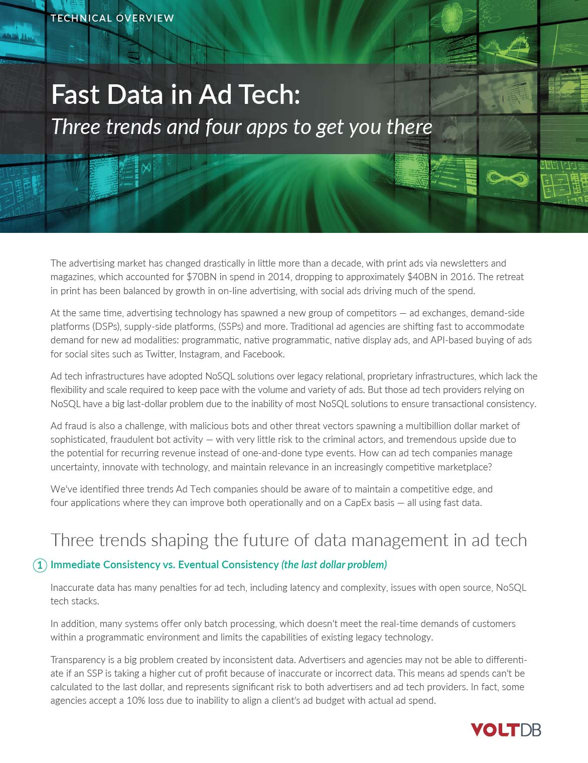 Fast Data in Adtech - VoltDB Technical Overview