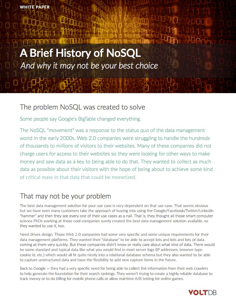 Brief History of NoSQL
