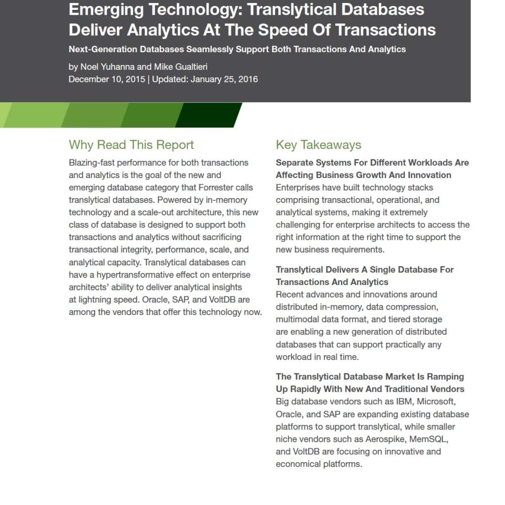 Forrester Translytical database report