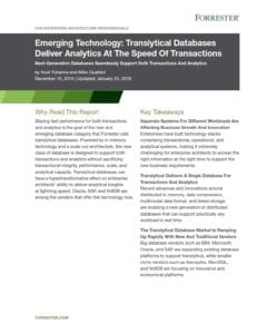 Forrester Translytical Database Report 2015