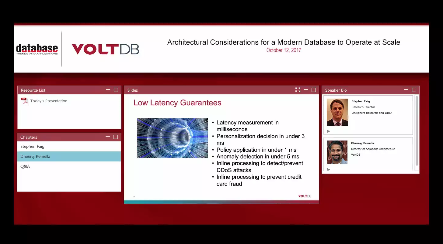 Pre-Recorded Webinar - Architectural Considerations Modern Database