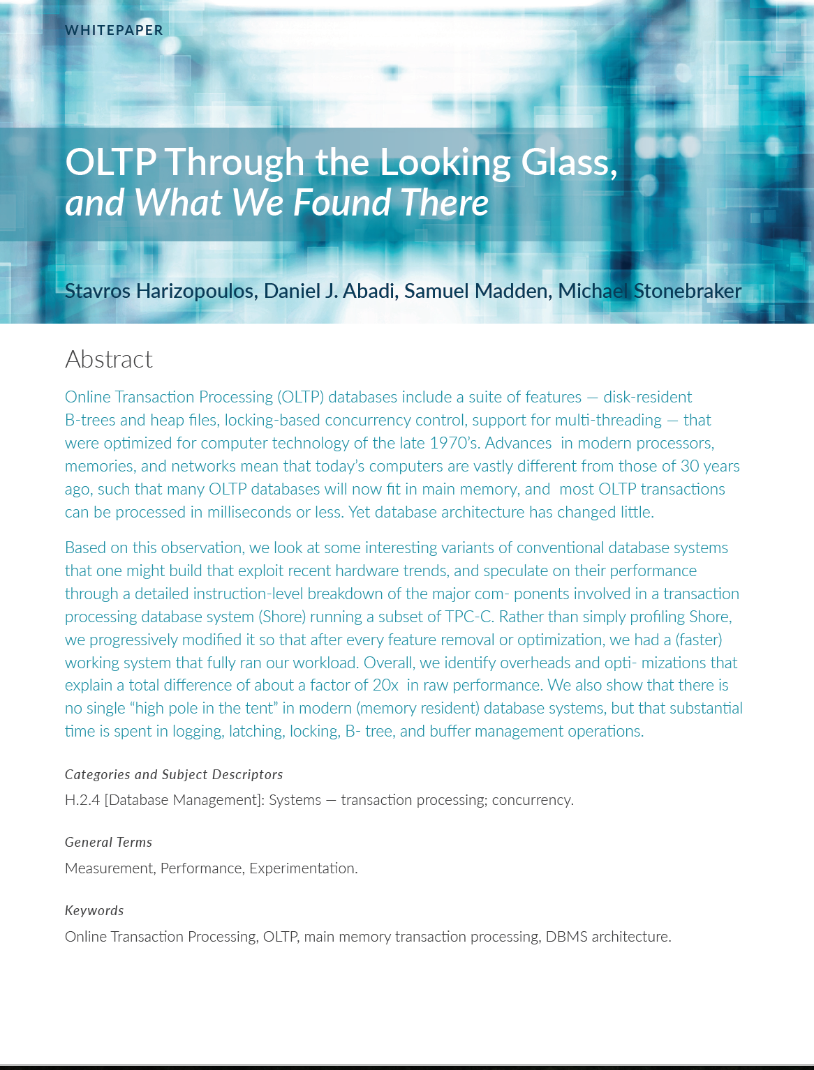 Whitepaper: Through the Looking Glass by Micheal Stonebraker
