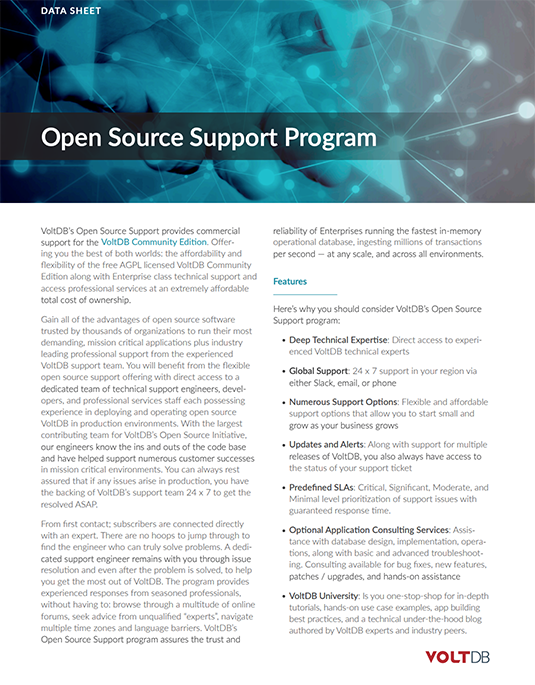 VoltDB Open Source Solution Brief